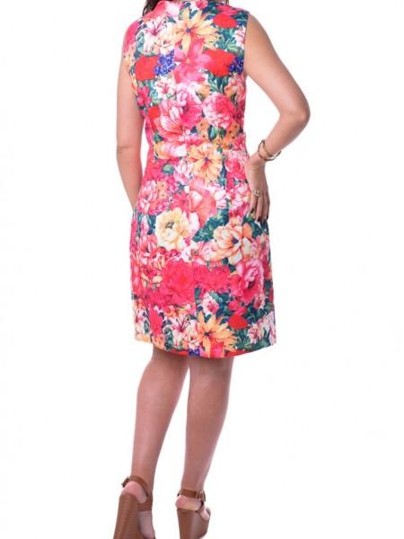 Κόκκινο floral printed αμάνικο φόρεμα Allure
