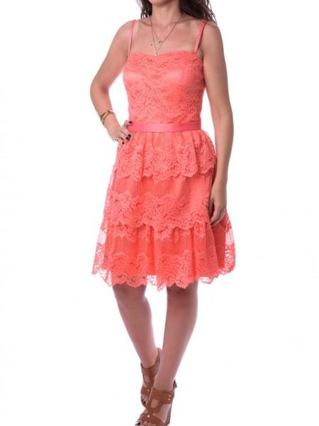 Ροδακινί αμάνικο φόρεμα με δαντέλα Allure