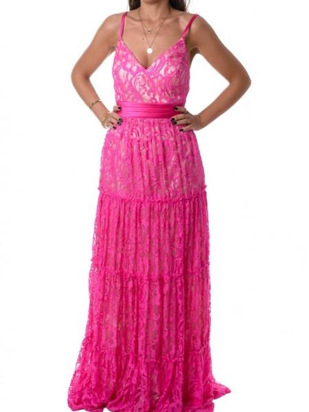 Φούξια αμάνικο maxi φόρεμα με δαντέλα Allure