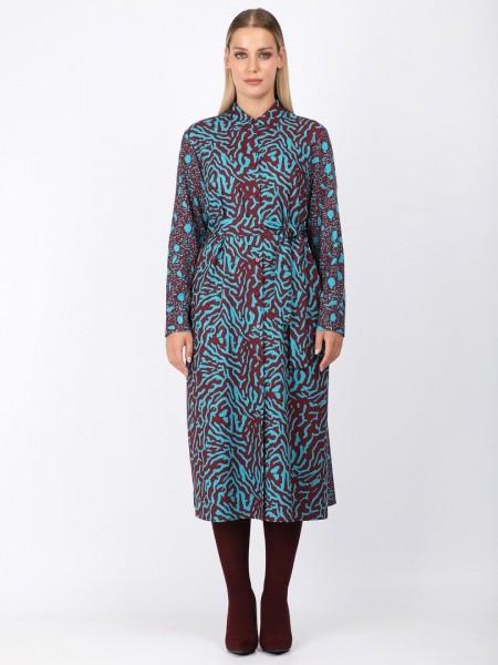 Εμπριμέ πετρολ-μπορντώ μακρυμάνικο maxi φόρεμα με πέτο γιακά, κουμπιά μπροστά κατά μήκος, πλαϊνές τσέπες και αποσπώμενη υφασμάτινη  Dina by MIRO