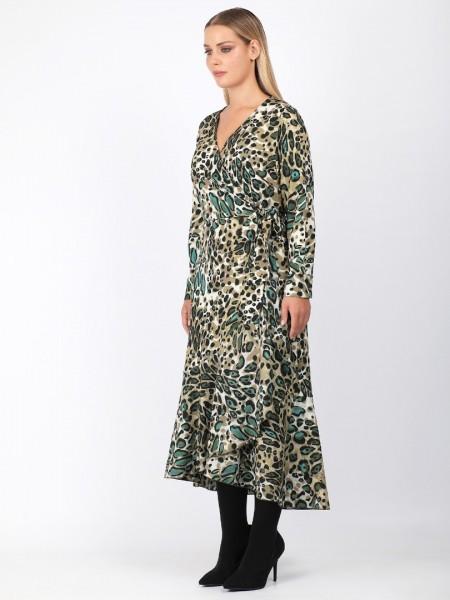 Animal printed λαδί μακρυμάνικο κρουαζέ maxi φόρεμα με βολάν στο τελείωμα και δέσιμο στο πλάι Dina by MIRO