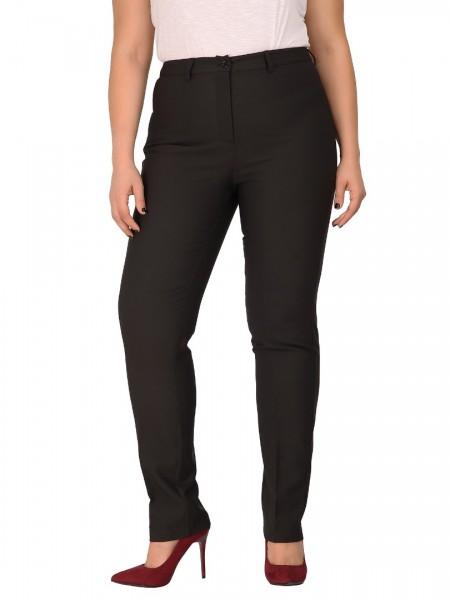 Μαύρο ψηλόμεσο κρεπ παντελόνι με θυλάκια, τσέπες φιλέτο πίσω και κλείσιμο με φερμουάρ και κουμπί DinaXL