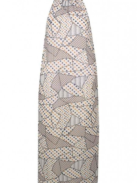 Εμπριμέ μπεζ αμάνικο maxi φόρεμα με παρτούς ώμους , κέντημα στο λαιμό και μικρό άνοιγμα ψηλά στην πλάτη Goa goa