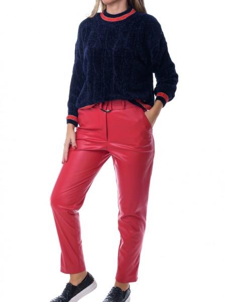Μπλε μακρυμάνικη σενίλ πλεκτή μπλούζα με κόκκινα τελειώματα GOA GOA