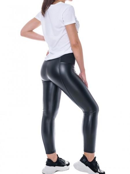 Μαύρο ψηλόμεσο faux-leather παντελόνι-κολάν Goa Goa