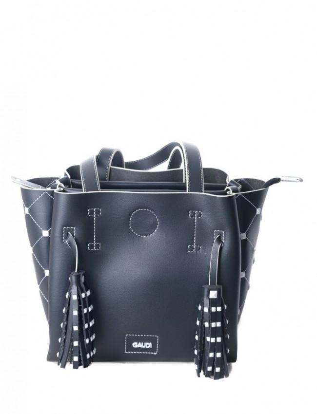 Μαύρη τσάντα ώμου με λεπτομέρειες στα πλαϊνά και διακοσμητικά Gaudi