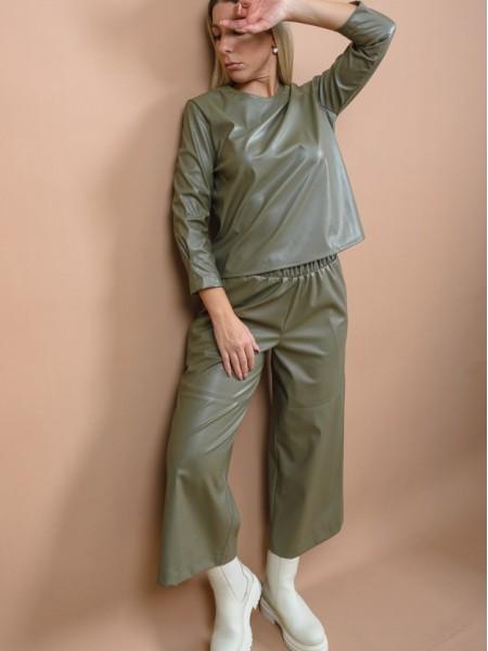 Λαδί ψηλόμεση faux-leather ζιπ-κυλότ με λάστιχο στη μέση, πλαϊνές τσέπες και διακοσμητικά γαζιά μπροστά Kramma