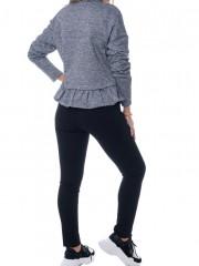 Γκρι μακρυμάνικη μπλούζα με βολάν και λουπέτο λαιμόκοψη Κendal + Kylie