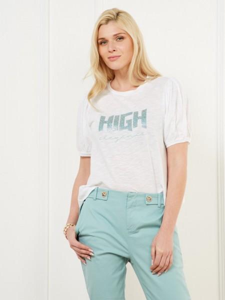 """Λευκή κοντομάνικη μπλούζα με στρογγυλή λαιμόκοψη ,φουσκωτά μανίκια και glitter τύπωμα """"High elegance"""" Lynne"""