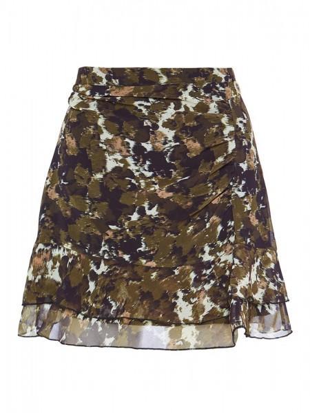 Χακί εμπριμέ κοντή φούστα με σούρα μπροστά και βολάν στο τελείωμα Lynne