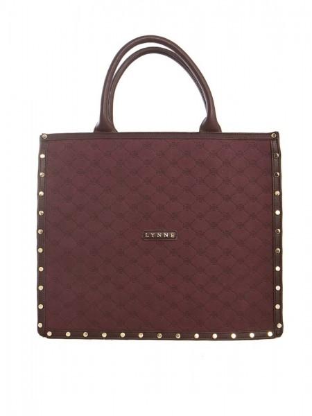 Μπορντώ μεγάλη τσάντα με ανάγλυφο λογότυπο, leather look λεπτομέρειες, χειρολαβές και χρυσά διακοσμητικά τρουκς Lynne