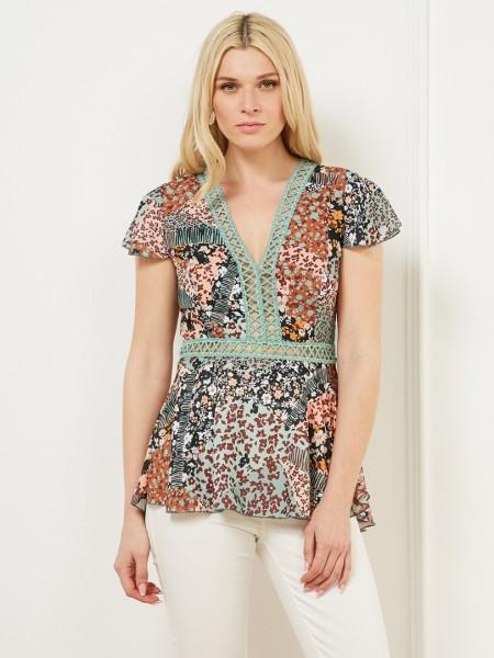 Floral printed πράσινη κοντομάνικη μπλούζα με broderie τρυπιτές  λεπτομέρειες Lynne