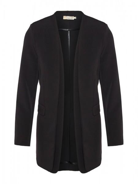 Μαύρο basic σακάκι χωρίς γιακά με διπλό πέτο Lynne