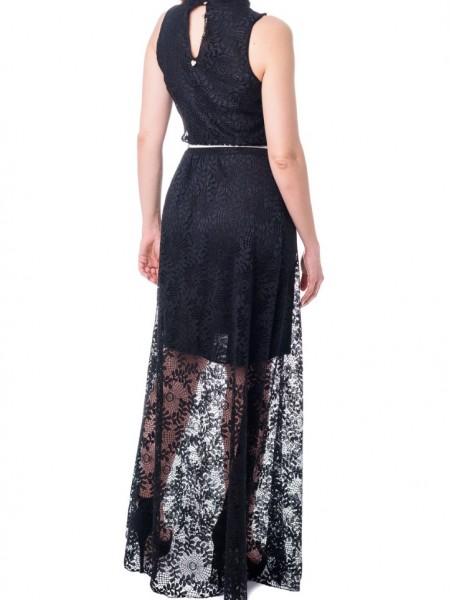 Μαύρο αμάνικο maxi φόρεμα από δαντέλα Lynne