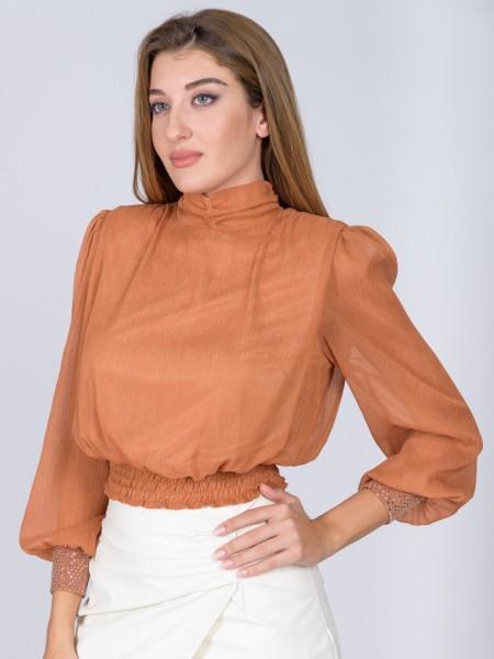 Κανέλλα μακρυμάνικη μπλούζα από μουσελίνα με λούρεξ κλωστή, βάτες στους ώμους και παγιέτες στο τελείωμα στο μανίκι Lynne