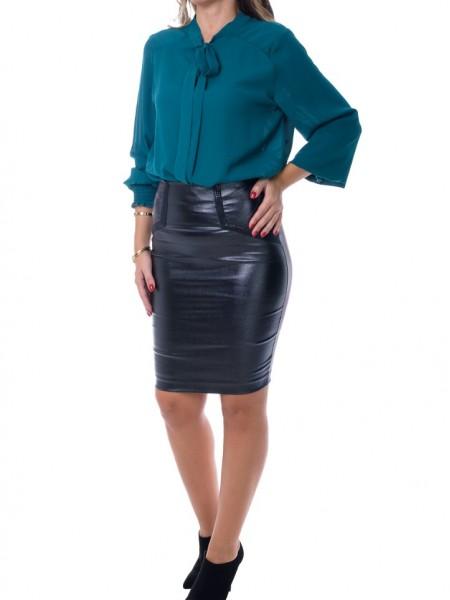 Μαύρη ψηλόμεση leather-look pencil φούστα με shiny-look Lynne