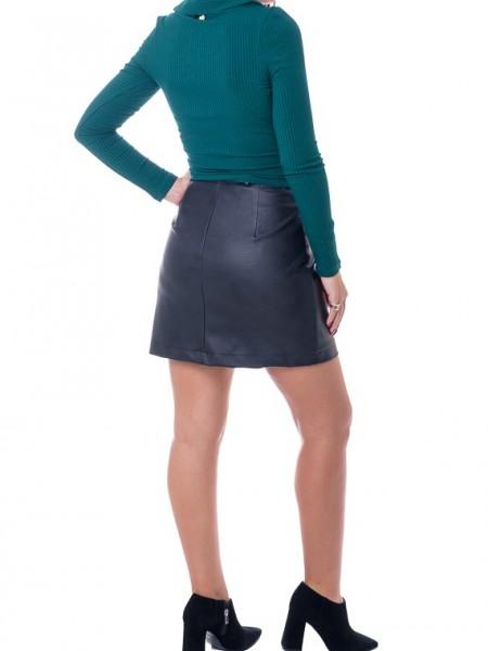 Πράσινη μακρυμάνικη cropped κρουαζέ μπλούζα με γιακά σε ριπ ύφανση Lynne