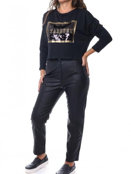 Μαύρη μακρυμάνικη cropped μπλούζα με παγιέτα και τύπωμα Lynne