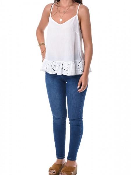 Λευκή αμάνικη μπλούζα με broderie βολάν Lynne