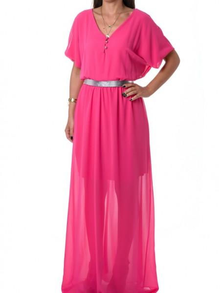 Φούξια ημιδιάφανο φόρεμα με σούρα Lynne