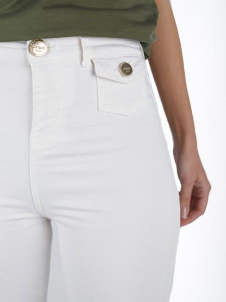 Εκρού high-waisted jean παντελόνι καμπάνα με μικρές τσέπες μπροστά, χρυσά κουμπιά και animal printed λεπτομέρεια στο ζωνάκι στη μέση Lynne