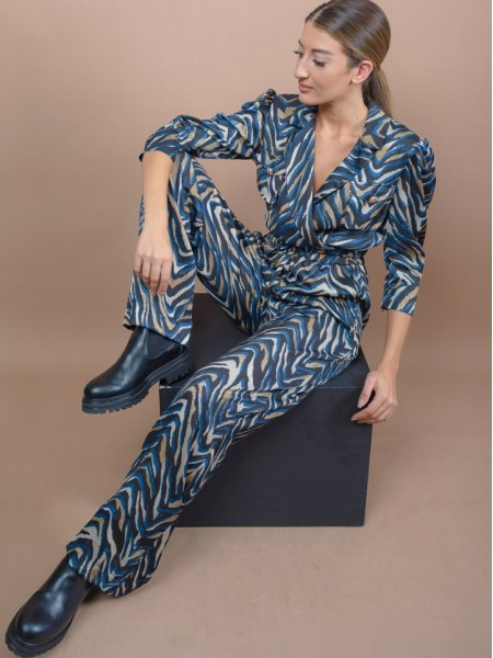 Animal printed μπλε ψηλόμεση παντελόνα με μικρό λάστιχο στην μέση, κορδόνι μπροστά και πλαϊνές τσέπες Lynne