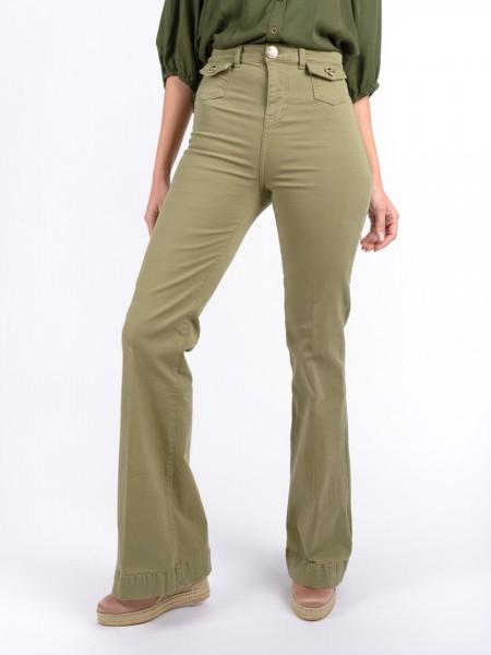 Χακί high-waisted jean παντελόνι καμπάνα με μικρές τσέπες μπροστά, χρυσά κουμπιά και animal-printed λεπτομέρεια στο ζωνάκι στη μέση Lynne