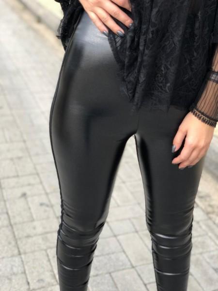 Μαύρο ψηλόμεσο κολάν με glitter, λάστιχο στη μέση και υφασμάτινο πίσω μέρος Lynne