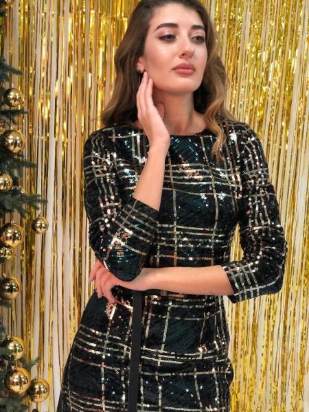 Μαύρο μακρυμάνικο mini φόρεμα με παγιέτες Lynne