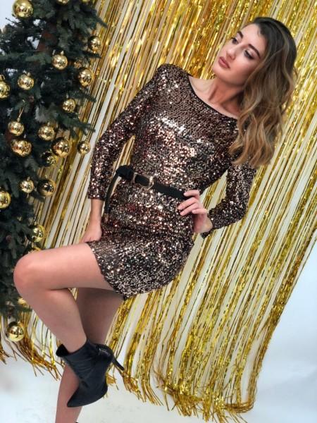 Χάλκινο μακρυμάνικο παγετένιο ελαστικό φόρεμα με βάτες στους ώμους και άνοιγμα στη πλάτη Lynne