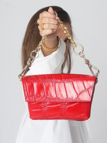 Κόκκινη croco χειροποίητη δερμάτινη CROCO GREEN τσάντα με αποσπώμενο ρυθμιζόμενο λουράκι και αποσπώμενη χρυσή αλυσίδα Leather Twist