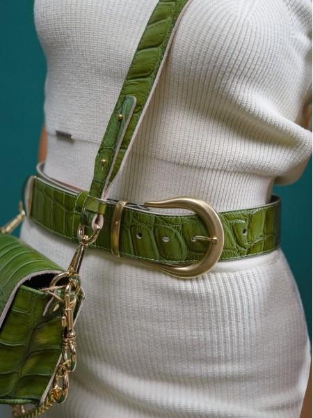 Λαχανί croco δερμάτινη χειροποίητη CROCO GREEN ζώνη  με χρυσή αγκράφα Leather Twist