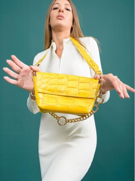 Κίτρινη croco χειροποίητη δερμάτινη CROCO GREEN τσάντα με αποσπώμενο ρυθμιζόμενο λουράκι και αποσπώμενη χρυσή αλυσίδα Leather Twist