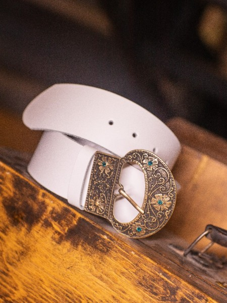 Λευκή χειροποίητη δερμάτινη LINUM ζώνη με χρυσή vinage αγκράφα και γαλάζιες πέτρες Leather Twist