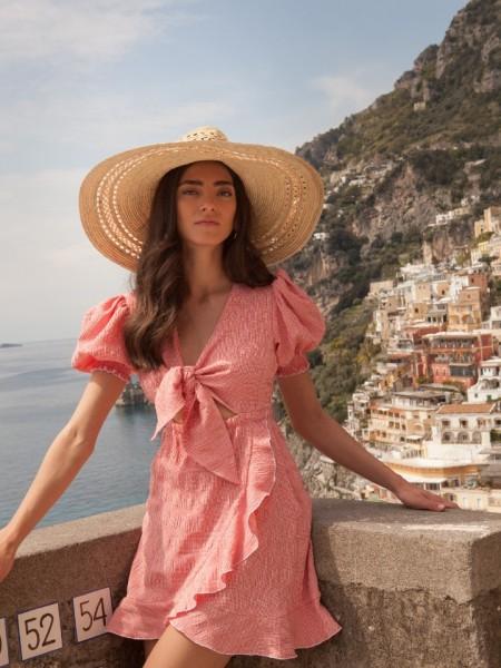 Καρό κόκκινο κοντομάνικο κοντό Amalf φόρεμα με άνοιγμα μπροστά και δέσιμο με κόμπο στο μπούστο Mallory the Label