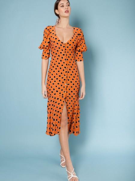 Πουά πορτοκαλί κοντομάνικο midi Mimosa Polka Dot φόρεμα με σούρες στους ώμους, κουμπιά μπροστά και ασυμμετρία μπροστά και βολάν στο τελείωμα Mallory the Label