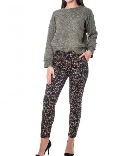 Εμπριμέ μαύρο floral printed παντελόνι με πλαϊνές τσέπες Milly Brown