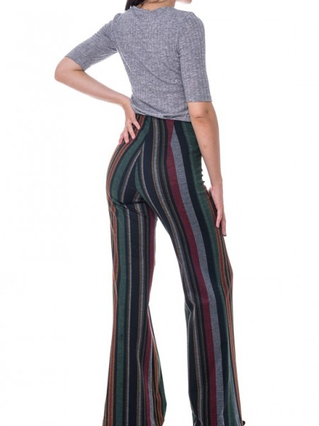 Πράσινη ριγέ ψηλόμεση παντελόνα Milly Brown