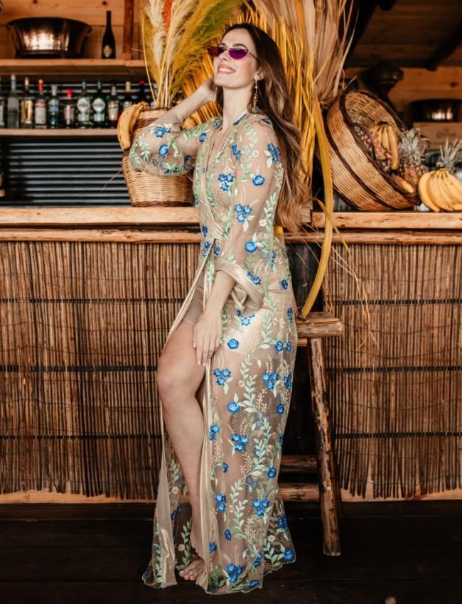 Floral printed μπεζ-γαλάζιο maxi EMMELINE φόρεμα-κιμονό Mya