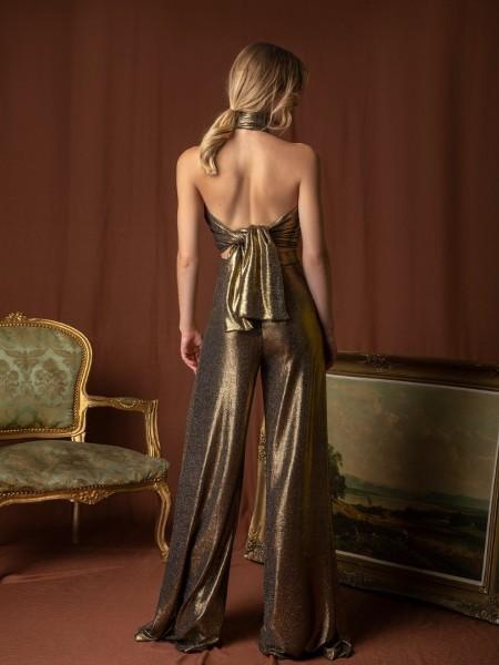 Χρυσή lurex παγετένια ψηλόμεση CLEMENCIA παντελόνα καμπάνα σε ελαστικό ύφασμα με σταθερή μπάσκα στη μέση και φερμουάρ πίσω Mya