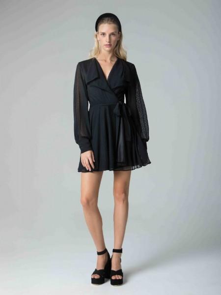 Μαύρο μακρυμάνικο κοντό φόρεμα με διαφανές πουά,στα μανίκια λάστιχο και δέσιμο μπροστά Mya