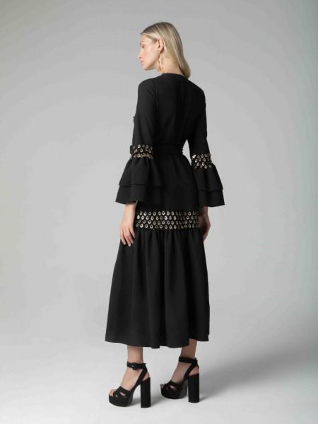 Μαύρο μακρυμάνικο κρουαζέ φόρεμα με τρέσα και βολάν τελείωμα στο μανίκι Mya