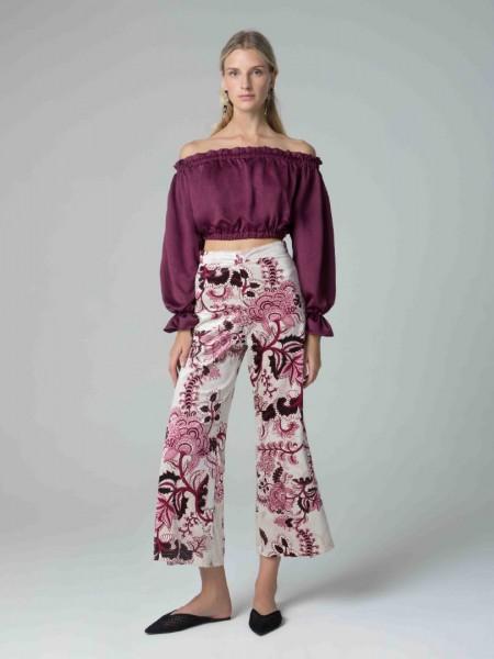 Μπεζ βελουτέ floral-printed ψηλόμεσο ελαστικό παντελόνι με λάστιχο στη μέση και κλείσιμο με φερμουάρ στο πίσω μέρος Mya