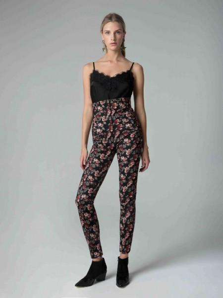 Εμπριμέ μαύρο ψηλόμεσο floral-printed παντελόνι Mya