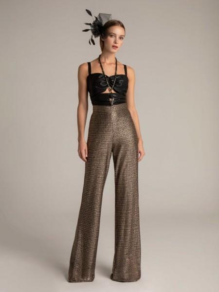 Εμπριμέ μαύρη μεταλλιζέ ψηλόμεση CHARLOTTE παντελόνα με χρυσοκλωστή,  σταθερή μέση και κλείσιμο με φερμουάρ πίσω Μya