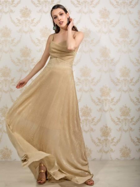 Χρυσό maxi Gadina φόρεμα με ασημοκλωστή Mya
