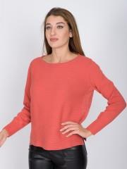Ροδακινί  μακρυμάνικη πλεκτή μπλούζα σε ριπ ύφανση με κάθετες lurex ρίγες στο πλάι, με ανοιχτή στρογγυλή λαιμόκοψη και ελαφριά ασσυμετρία στα πλαϊνά Maria Bellentani