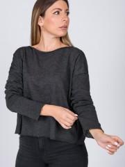 Γκρι μελανζέ πλεκτή μακρυμάνικη cropped μπλούζα WALSH με χαμόγελο λαιμόκοψη και σε φαρδιά γραμμή Namaste