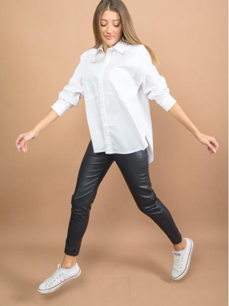 Λευκό μακρυμάνικο ALBI πουκάμισο loose-fit με διακοσμητικές ραφές, στρογγυλάδα στο τελείωμα και μικρά ανοίγματα Namaste