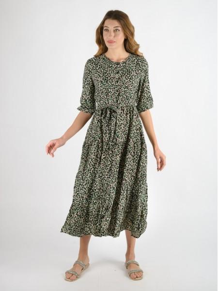 Εμπριμέ μαύρο loose fit midi MONT φόρεμα με στρογγυλή λαιμόκοψη, κουμπάκια μπροστά, 3/4 μανίκια, μικρά βολάν σε επίπεδα και αποσπώμενη υφασμάτινη ζώνη Namaste
